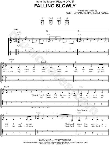 tutorial piano falling slowly glen hansard quot falling slowly quot guitar tab in c major