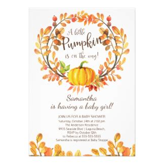 Lil Pumpkin Baby Shower Invitations by Fall Baby Shower Invitations Announcements Zazzle