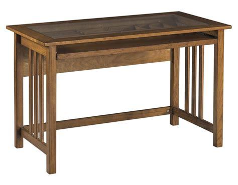 wood computer desk w oak finish and glass top insert