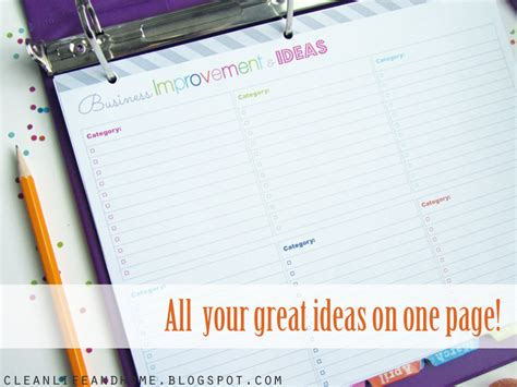 free printable business planner pages clean life and home freebie business improvement and
