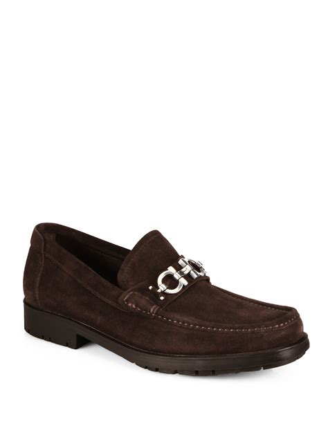 loafers ferragamo ferragamo master suede loafers in brown for lyst