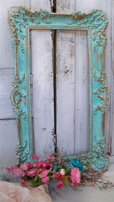 aqua picture frame wall decor hint of turquiose ornate accented gold shabby chic home decor
