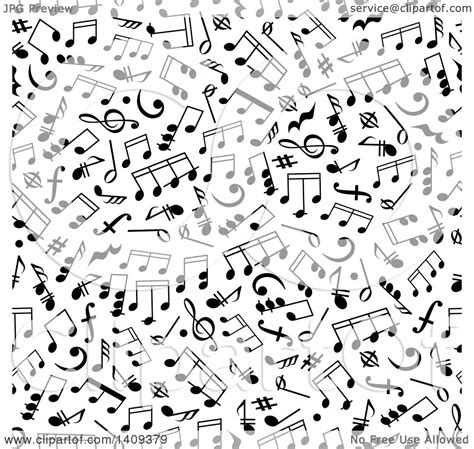 vector pattern with music notes clipart of a seamless background pattern of black music