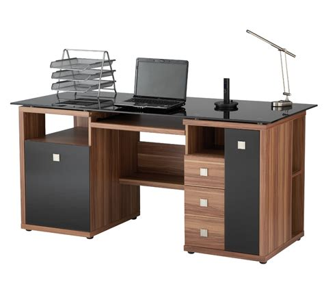 Office Workstations Desks Saratoga Walnut Effect Executive Computer Desk Desk Ideas Desk Shelves Desks
