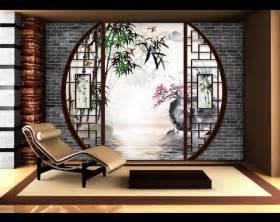 papier peint 3d asiatique sur meaure paysage zen jardin