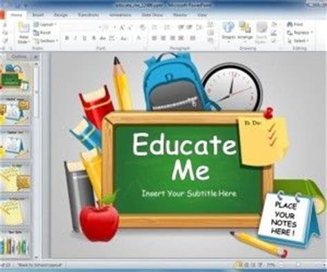 theme powerpoint for elementary students animated executive education powerpoint template with pencil