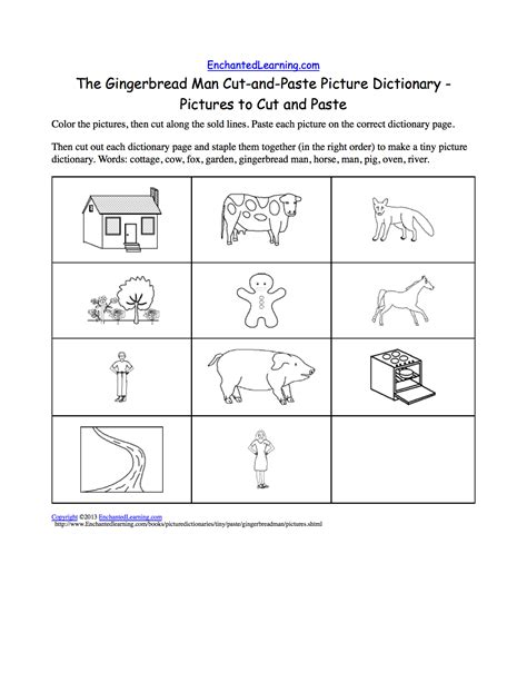 gingerbread man story printable pdf the gingerbread man cut and paste picture dictionary a