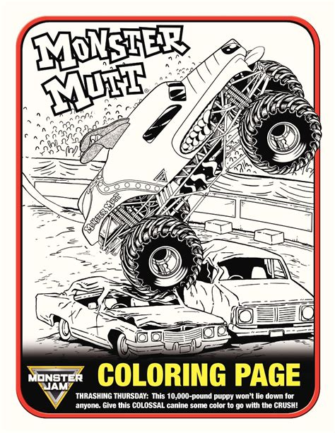 monster mutt coloring page sweetly b squared monster jam january 30 2016 ford field