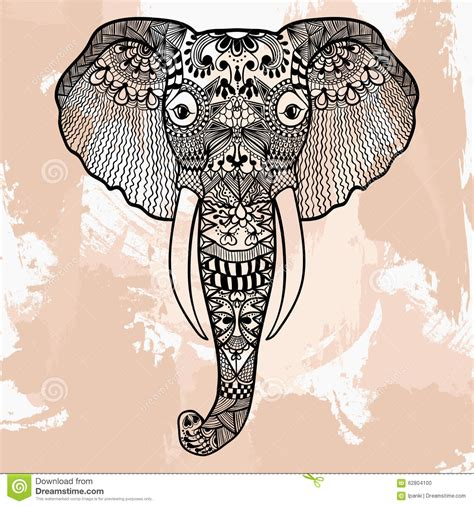 zentangle head of elephant tattoo design in doodle style