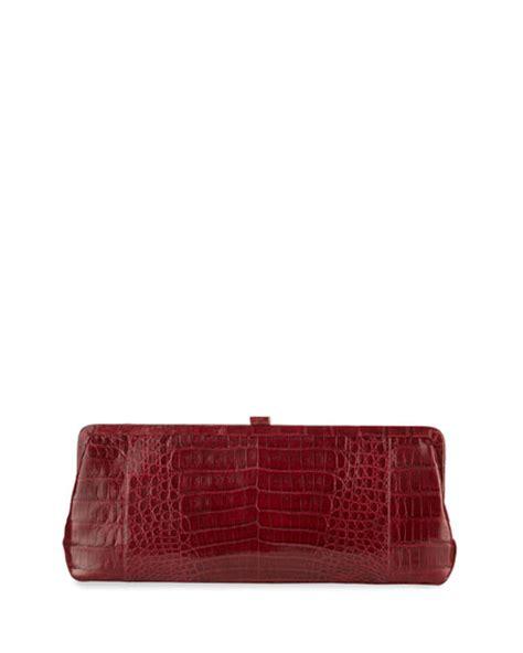 Nancy Gonzalez Crocodile Clutch The Bag by Nancy Gonzalez Small Frame Crocodile Clutch Bag Shiny