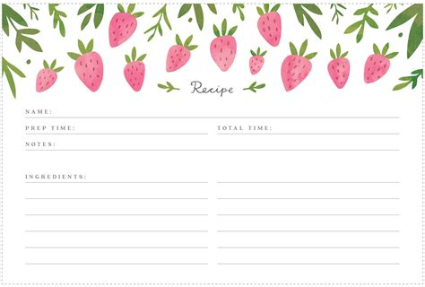 printable recipe cards with recipes printable strawberry recipe cards freutcake