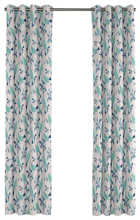 Aqua Blue Curtains Silhoetted Aqua Blue Bird Grommet Curtain Contemporary Curtains By Loom Decor