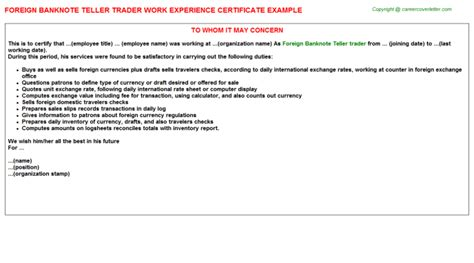 Foreign Exchange Trader Cover Letter by Bank Employee Work Experience Letters Descriptions And Duties