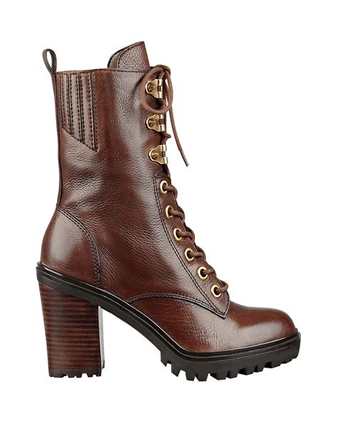 guess boots guess gandy leather ankle boots in brown lyst