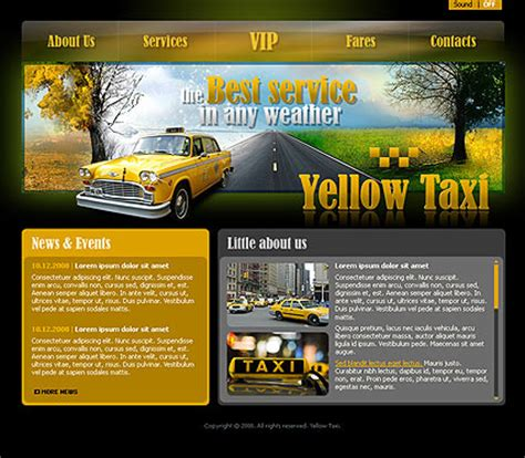 Yellow Taxi Flash Website Template Best Website Templates Taxi Website Template