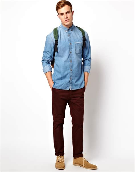 light washed mens lyst asos selected light washed denim shirt with horn