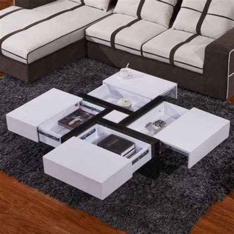 white gloss coffee table with drawers modern designer high gloss white coffee table 4 hidden drawers