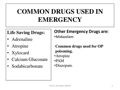 emergency drugs in emergency room 9 drugs used in critical