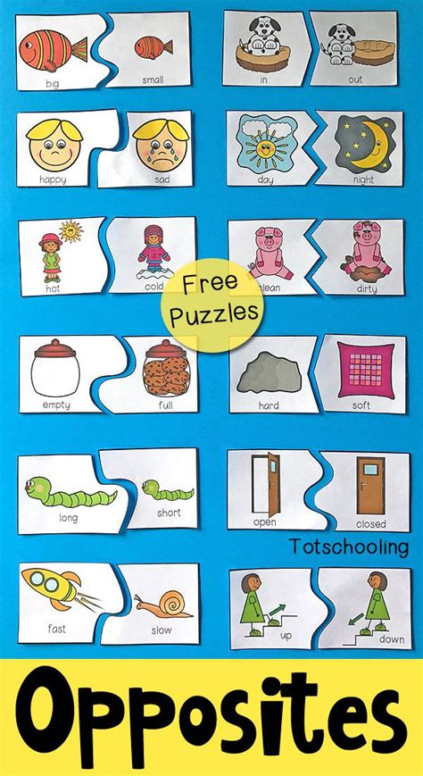 printable opposite cards for preschool opposites puzzles for preschool free printable puzzles