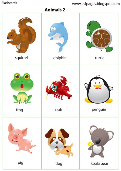 esl printable animal flashcards esl pages animals