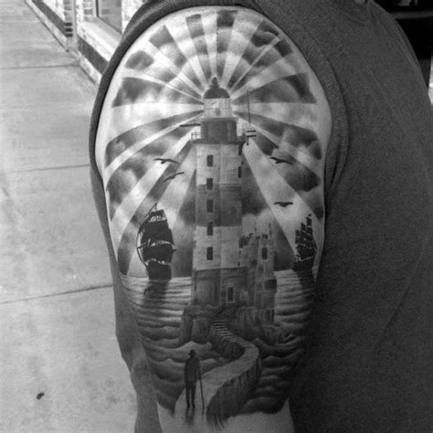 lighthouse tattoo designs arm realistic lighthouse design sverd