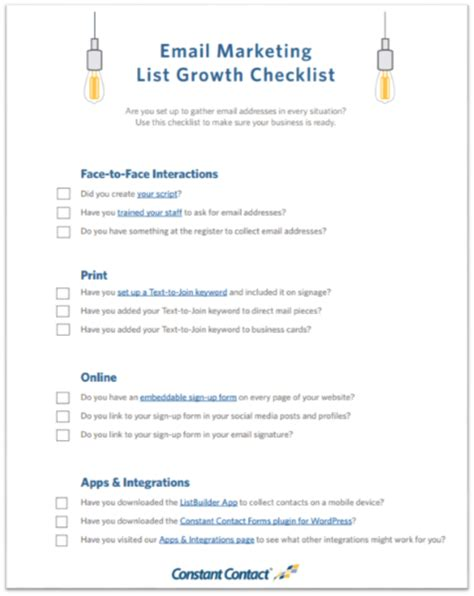 blogger email list checklist grow your email list grow your business
