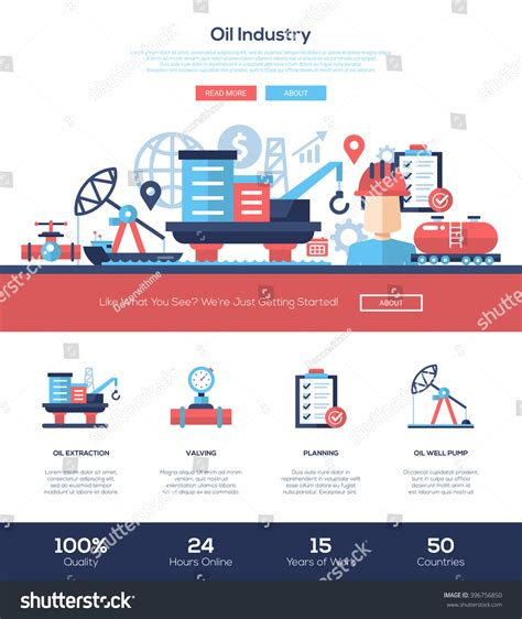 Oil Gas Production Industry One Page Stock Vector 396756850 Shutterstock And Gas Company Website Template
