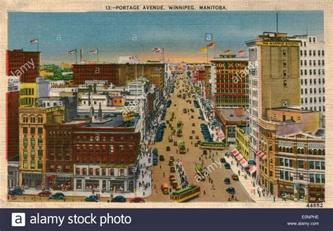 vintage postcard of portage avenue winnipeg manitoba canada stock photo royalty free image