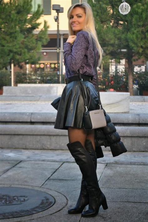black leather skirt and knee boots paperblog