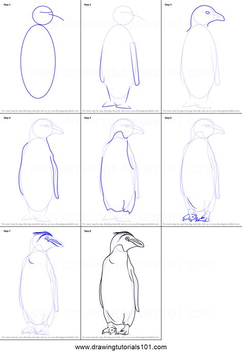 doodle drawings how to how to draw a macaroni penguin printable step by step