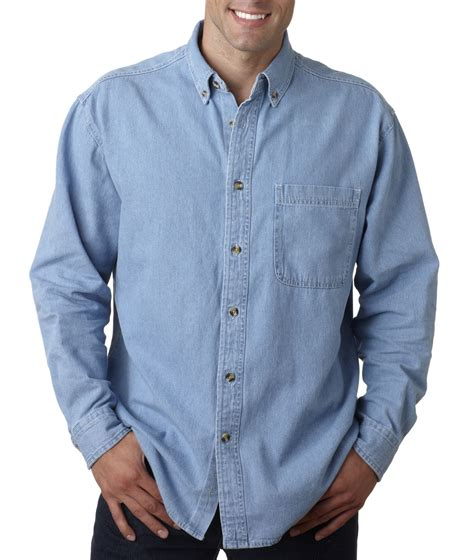 light blue button up shirt mens ultraclub long sleeve cypress denim with pocket solid