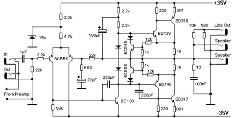 bipolar transistor guitar power lifier ocl 100w with mj802 mj4502 electronic projects circuits
