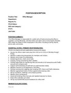Office Manager Description Template by Best Photos Of Office Description Template