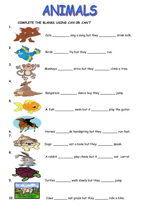 animal printable exercises animals can cant