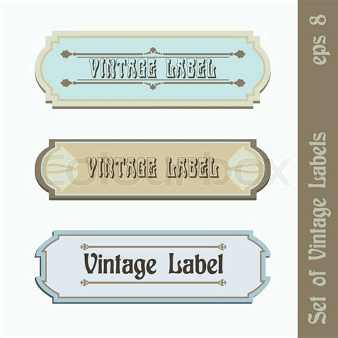 Set Of Editable Colorful Labels Set Of Three Vector Vintage Labels Easy Editable Stock Vector Colourbox