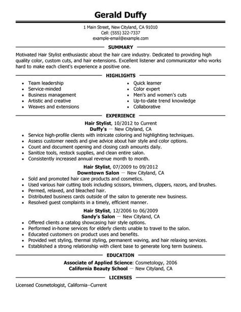 sle hair stylist resume exle business success