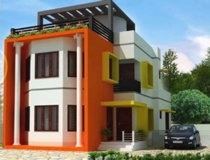 desain mushola di luar rumah kombinasi warna cat orange di bagian luar rumah desain
