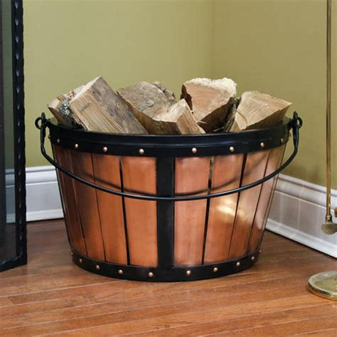 Fireplace Wood Basket by Copper Firewood Basket With Handle Antique