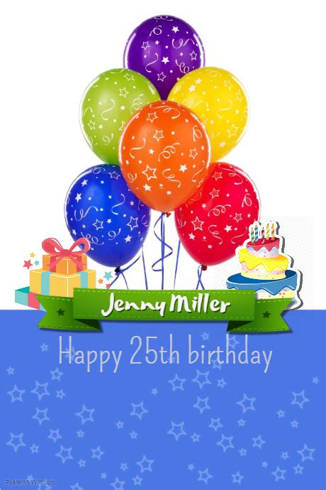 Happy 25th Birthday Template Postermywall Happy Birthday Poster Template