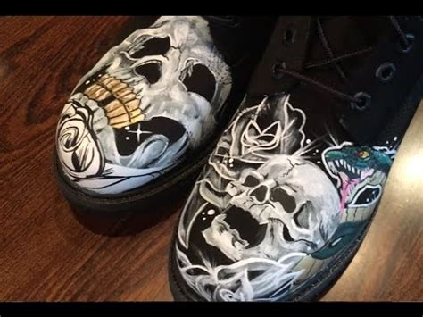 custom timberland boots black skulls roses and snakes time