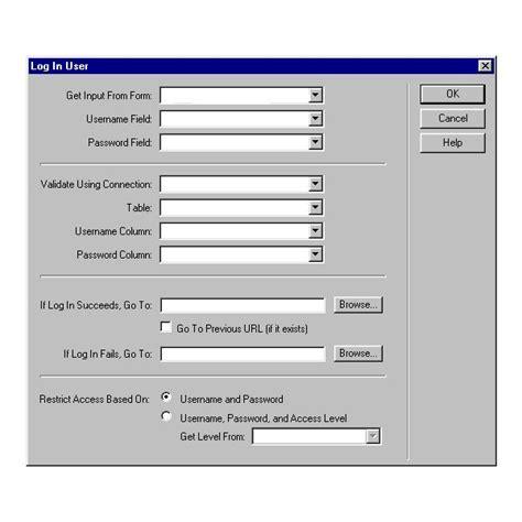 dreamweaver tutorial registration form dreamweaver tutorial password protection of web page