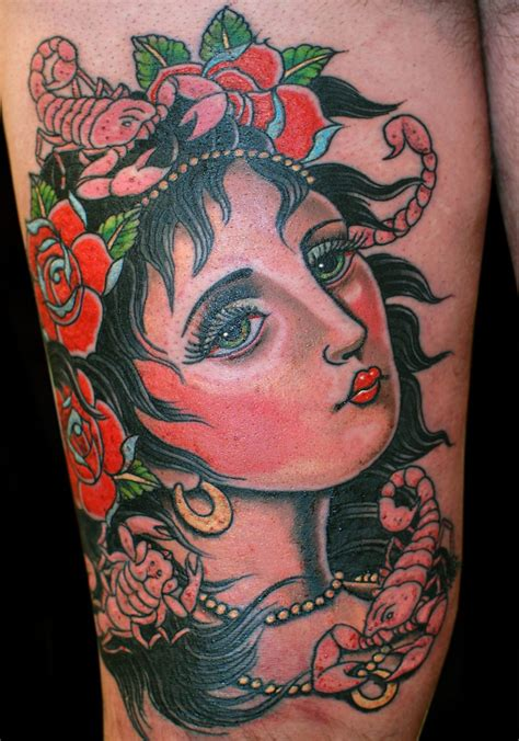 traditional woman tattoo flowers neo traditional to