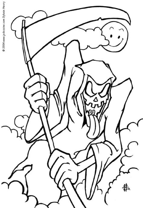 Reaper Coloring Pages Hellokids Com Grim Reaper Coloring Pages To Print