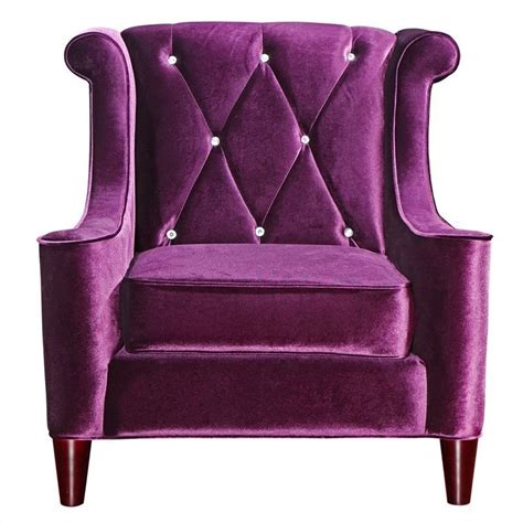 Purple Accent Chair Armen Living Barrister Tufted Club Chair In Purple 423558