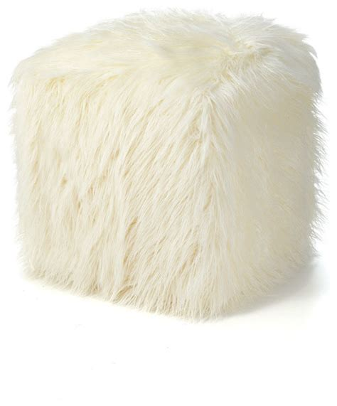 fur ottoman ivory mongolian lamb faux fur pouf footstool