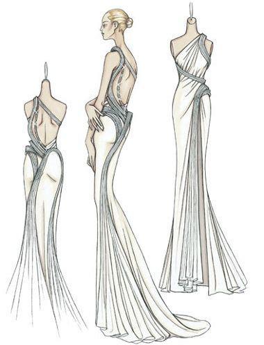 fashion illustration draping dress versace croquis and fashion designers on