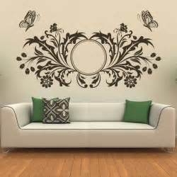 Art Wall Stickers Butterfly Design Floral Circle Wall Art Sticker Transfers