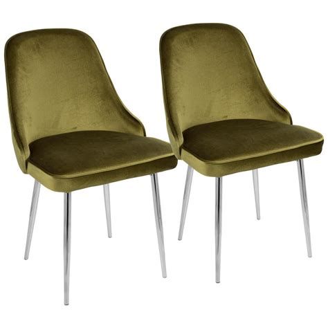 Green Velvet Dining Chairs Lumisource Chrome And Green Marcel Velvet Dining Chair Set Of 2 Dc Marcl Gn2 The Home Depot