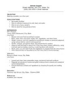 Cook Resume Objective Exles by Line Cook Resume The Resume Template Site