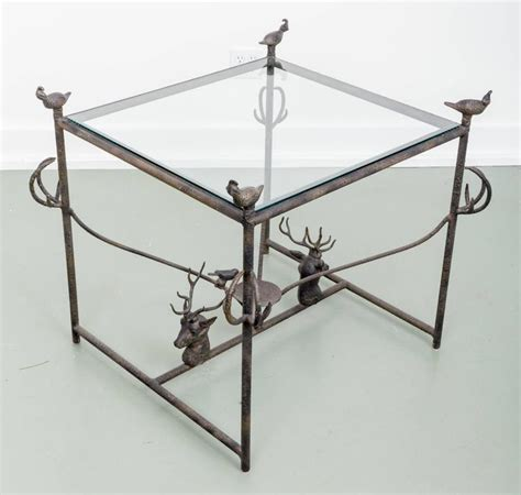 items similar to itty small metal accent table on etsy decorative metal side table with quail and stag head